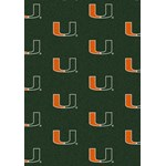 "Milliken College Repeating (NCAA) Miami 01157 Repeat Rectangle (4000018778) 3'10"" x 5'4"" Area Rug"