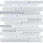 Anatolia Bliss Fusion Glass Mosaic Random Strip : Ice 35-029