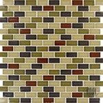 "MS International Everglade Mini Brick Glass Mosaic 12"" x 12"" : SMOT-GLSMBRK-EV8MM"
